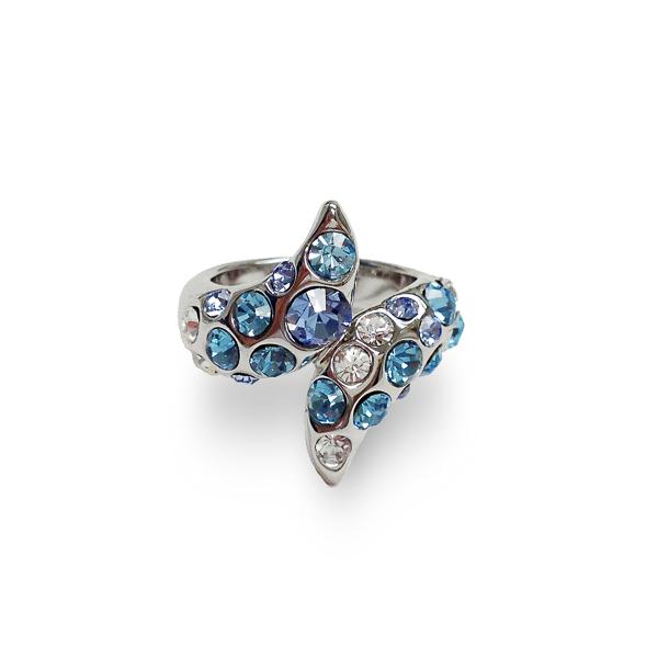 Rhodium Plated Aqua Crystal Wrap Ring