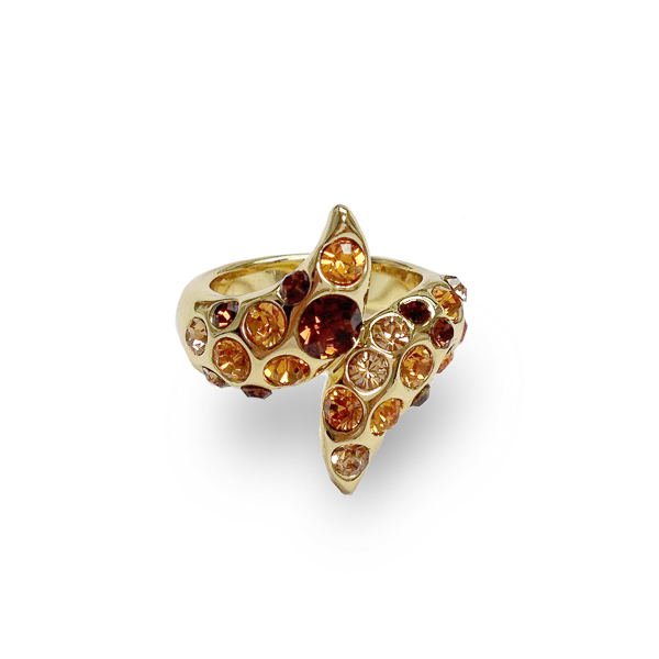 14K Gold Plated Topaz Crystal Wrap Ring