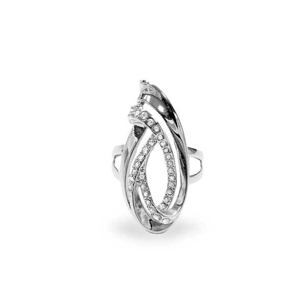 Rhodium Plated Swirl Ring