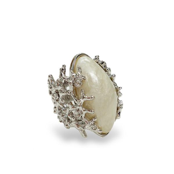 Rhodium Plated Barnacle Ring