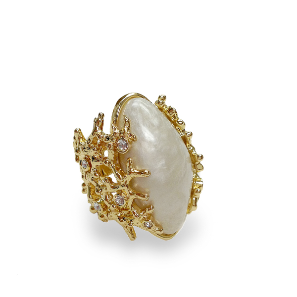 14K Gold Plated Barnacle Ring