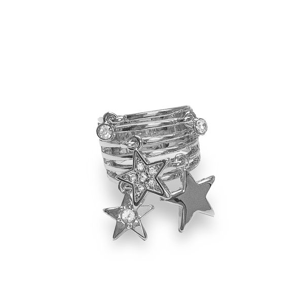 Rhodium Plated Dangling Stars Ring