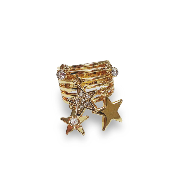 14K Gold Plated Dangling Stars Ring