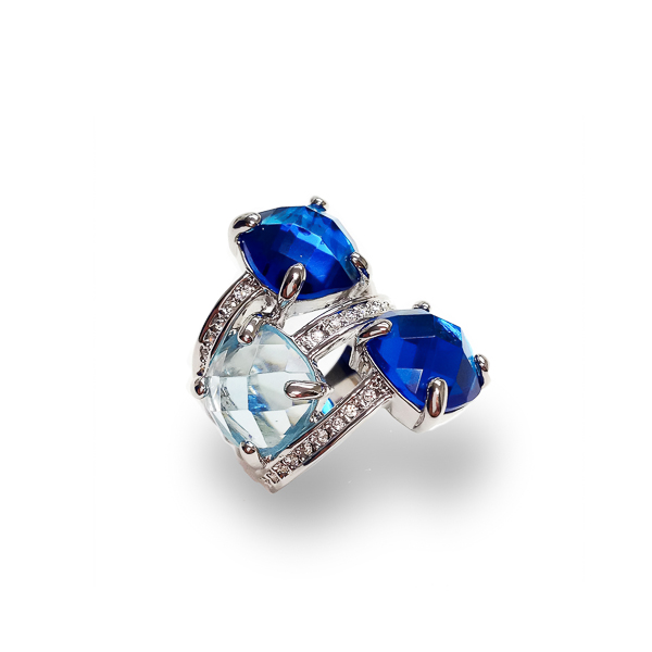Rhodium Plated Triple Stone and Crystal Statement Ring
