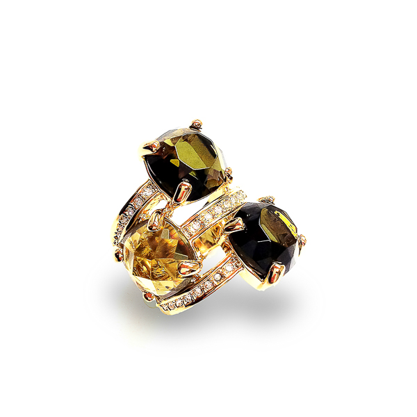 14K Gold Plated Triple Stone and Crystal Statement Ring
