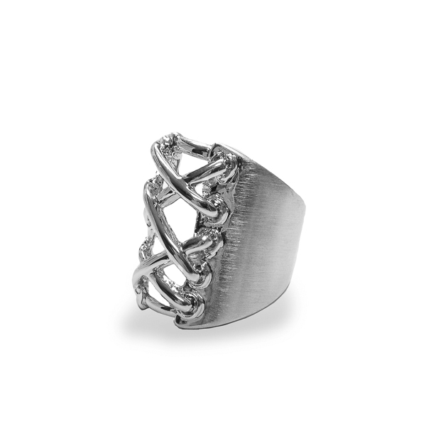 Rhodium Plated Corset Ring