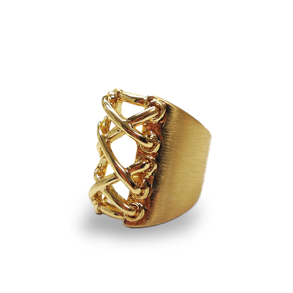 14K Gold Plated Corset Ring