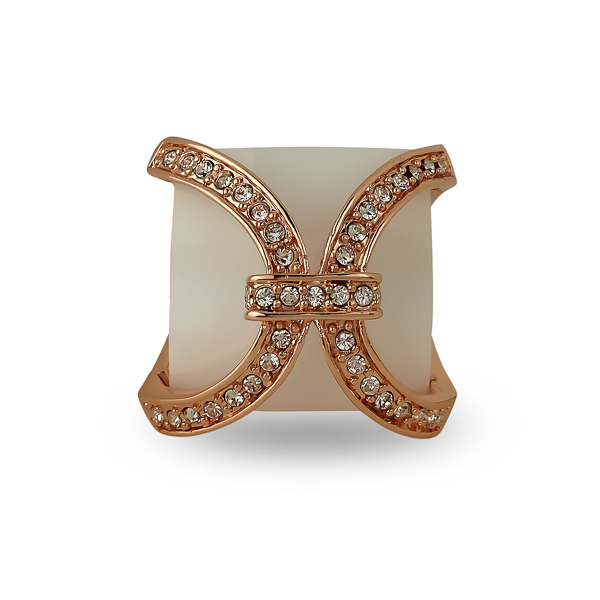 Rose Gold Plated Open Frame Glass Stone Ring