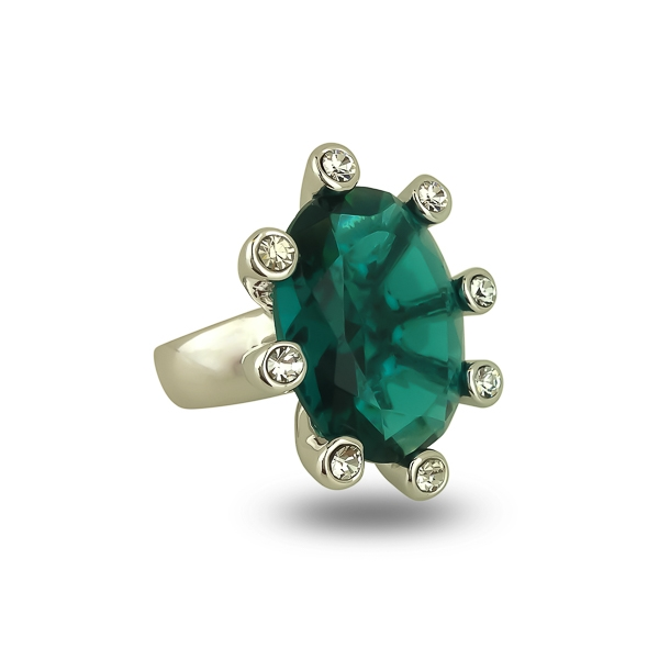 Rhodium Plated Green Turquoise Glass Stone Ocean Ring