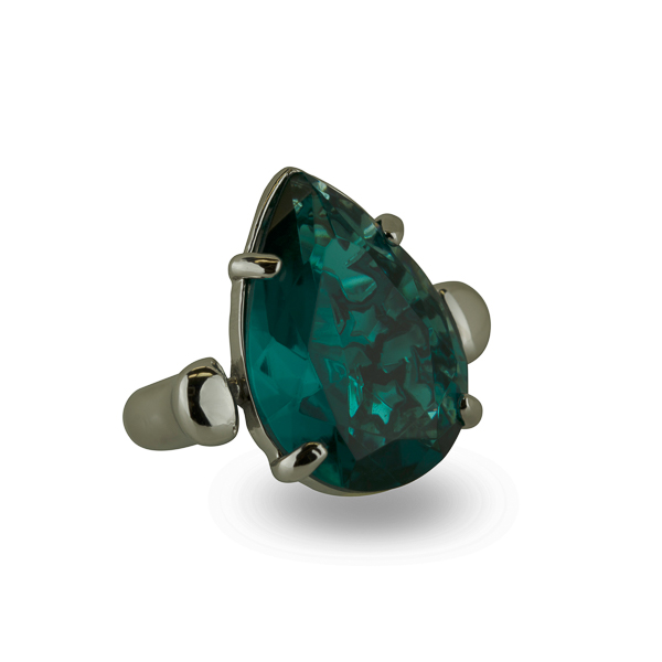 Rhodium Plated Green Turquoise Tear Glass Stone Ring