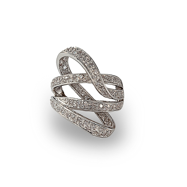 Rhodium Plated Ribbon Dance CZ Ring