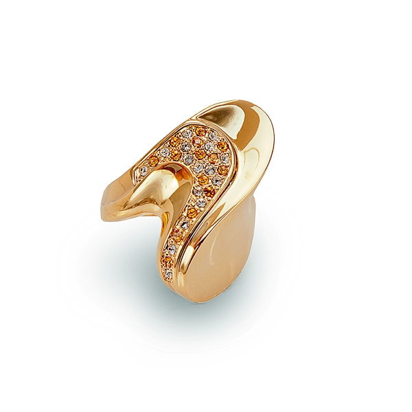 14K Gold Plated Wave of Crystals Ring