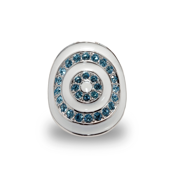 Rhodium Plated Aqua Crystals and Enamel Ring