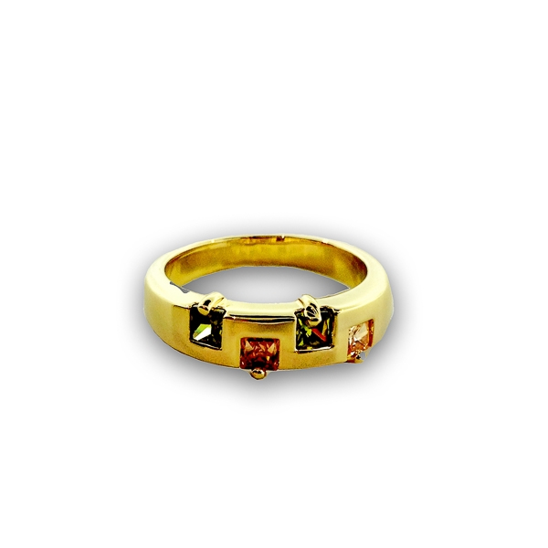 14K Gold Plated Four Small Square Glass Stones Ring
