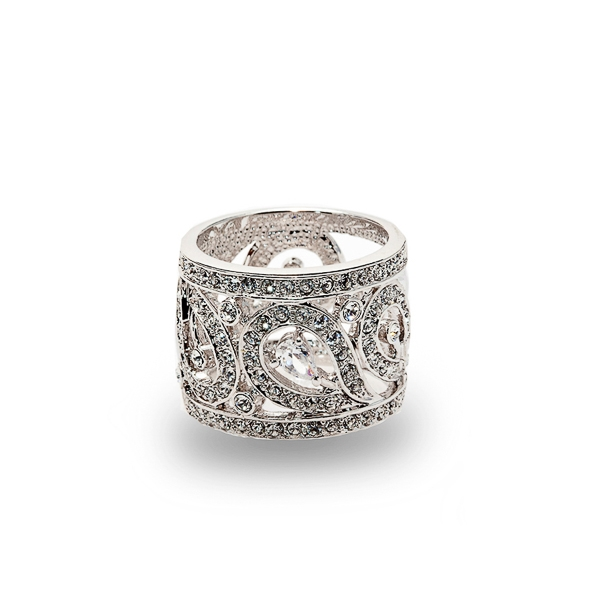 Rhodium Plated Paisley CZ and Crystal Ring