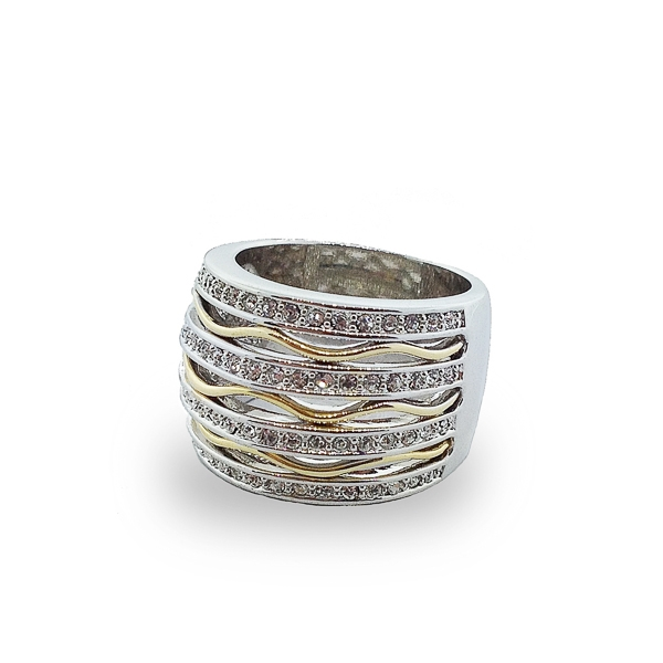 Two Tone Plated Crystals and Waves Cocktail Ring