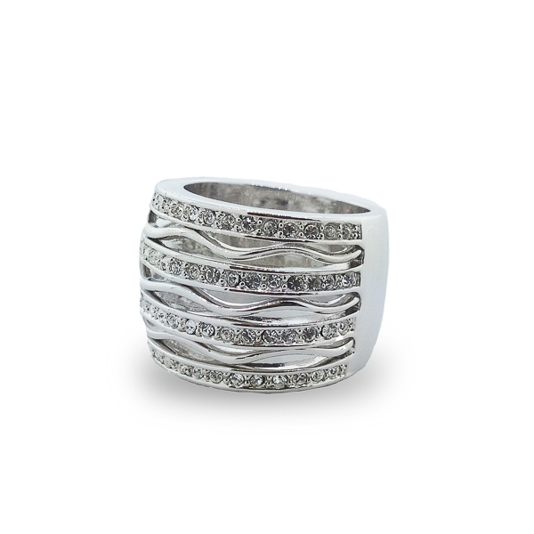 Rhodium Plated Crystals and Waves Cocktail Ring