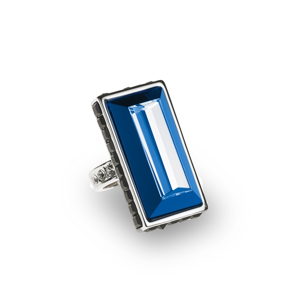 Rhodium Plated Rectangular Double Glass Stone Ring
