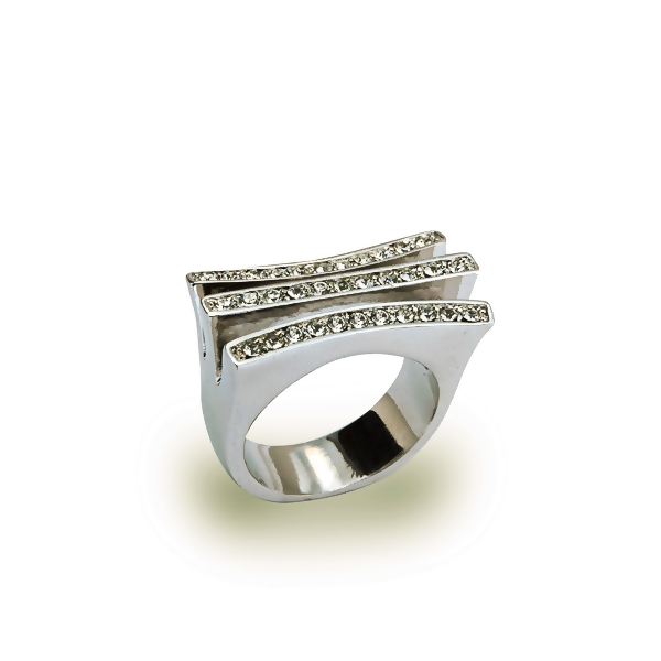 Rhodium Plated Three Crystal Rows Ring