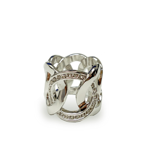 Rhodium Plated Crystal Circles Band Ring