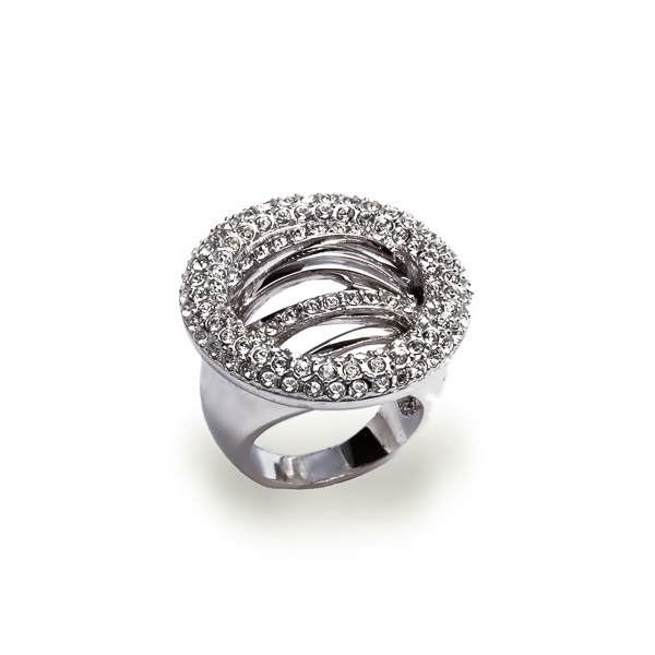 Rhodium Plated Elusive Crystal Ring