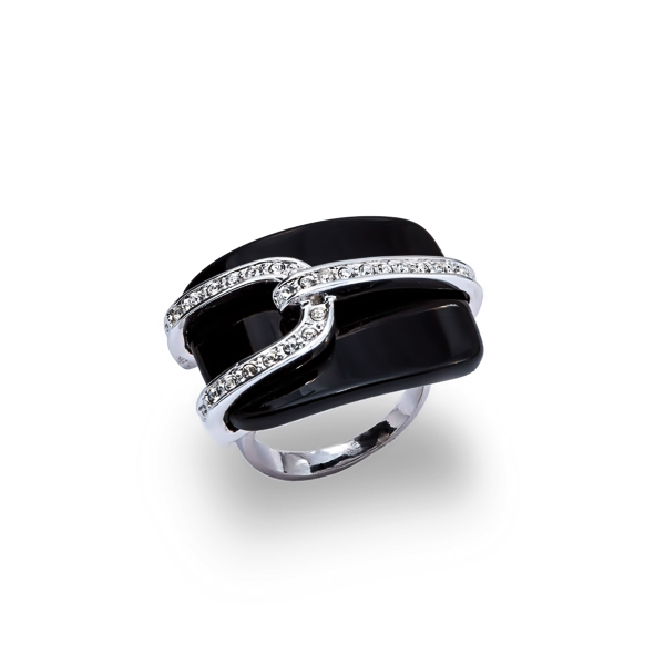 Rhodium Plated Onyx and Crystal Ring