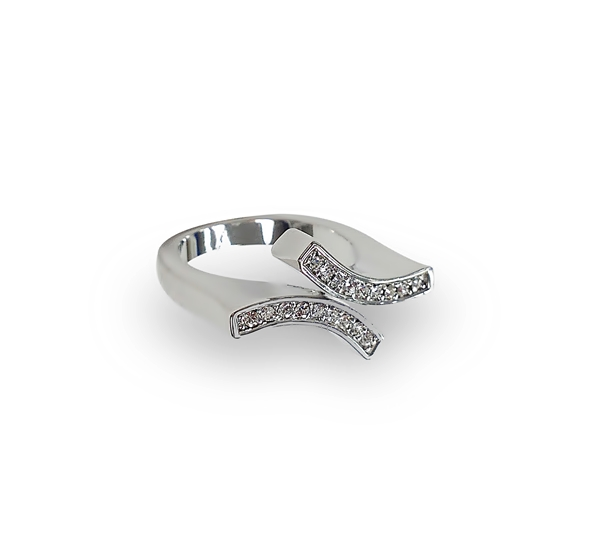 Rhodium Plated Parallel Crystal Ring